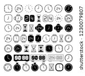 clock line icons. black and...