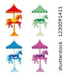 Set Of Colored Carousel With...