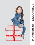 funny little girl  in jeans and ... | Shutterstock . vector #1230095527