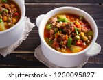 delicious hamburger soup with... | Shutterstock . vector #1230095827
