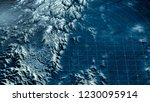 Satellite view of land, war operations, sci-fi, night vision with blue hues. Military target. Drone flying over an area. Undercover operation. Mountain reliefs and plains. New planet. 3d rendering - stock photo
