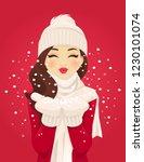 beautiful young woman blowing... | Shutterstock .eps vector #1230101074