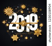 2019 happy new year background. ... | Shutterstock .eps vector #1230108904