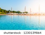 beautiful luxury swimming pool...   Shutterstock . vector #1230139864