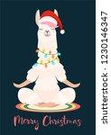 christmas yoga llama meditates. ... | Shutterstock .eps vector #1230146347