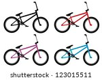bmx bike set in black  red ... | Shutterstock .eps vector #123015511