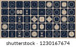 blue and beige clock line icons....
