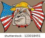 bulldog and american flag | Shutterstock .eps vector #123018451