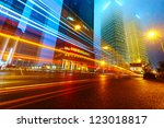 the light trails on the modern... | Shutterstock . vector #123018817