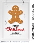 gingerbread man cookie and text ... | Shutterstock .eps vector #1230189187