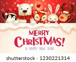 merry christmas  christmas cute ... | Shutterstock .eps vector #1230221314