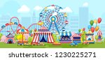 amusement park with ferris... | Shutterstock .eps vector #1230225271