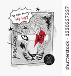 slogan with leopard head sketch ... | Shutterstock .eps vector #1230237337