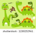 vector set of dinosaurs cartoon  | Shutterstock .eps vector #1230252961