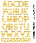 gold alphabet set of letters... | Shutterstock . vector #123025999