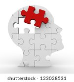 3d human head made of puzzle.... | Shutterstock . vector #123028531