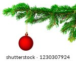 christmas ball on fir branch... | Shutterstock . vector #1230307924