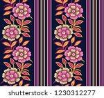flower stripe pattern on navy... | Shutterstock .eps vector #1230312277