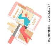 social media on mobile device ... | Shutterstock .eps vector #1230321787