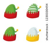 new year's elf hats  vector set | Shutterstock .eps vector #1230330454