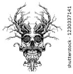 magic skull entangled with roots | Shutterstock . vector #1230337141