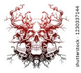 magic skull entangled with roots | Shutterstock . vector #1230337144