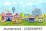 amusement park for kids plaing... | Shutterstock .eps vector #1230338947