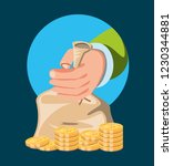 hand with bag of money | Shutterstock .eps vector #1230344881