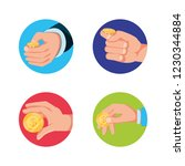 set of hands with coins... | Shutterstock .eps vector #1230344884