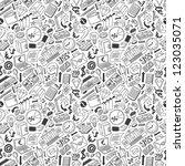business doodles   seamless... | Shutterstock .eps vector #123035071