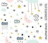 cute seamless clouds and stars... | Shutterstock .eps vector #1230351151