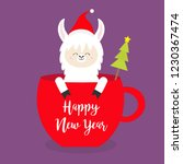 happy new year. llama alpaca... | Shutterstock .eps vector #1230367474
