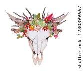 wild flower skull | Shutterstock . vector #1230399667