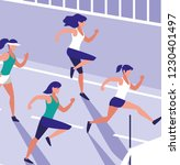 women in a running race design | Shutterstock .eps vector #1230401497