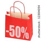 shopping bag with -50% sign on white background, photo does not infringe any copyright - stock photo