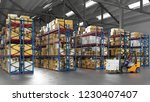 warehouse worker with forklift... | Shutterstock . vector #1230407407