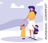 mother with kids in the park... | Shutterstock .eps vector #1230409147