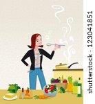 woman cooking | Shutterstock .eps vector #123041851