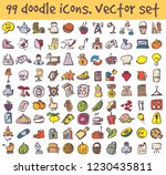 vector doodle icons set. stock... | Shutterstock .eps vector #1230435811
