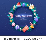 christmas wreath with color... | Shutterstock .eps vector #1230435847