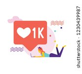 social media bubble with heart... | Shutterstock .eps vector #1230439987