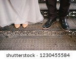 bride and groom are standing on ...   Shutterstock . vector #1230455584