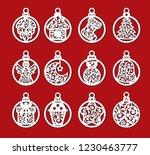 set of laser cut template of... | Shutterstock .eps vector #1230463777