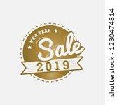 new year 2019 sale emblem vector | Shutterstock .eps vector #1230474814