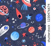 space hand drawn color vector... | Shutterstock .eps vector #1230476674