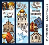 Christian religious sketch posters, Orthodox community religion symbols. Vector Catholic, Protestant or Evangelic and Baptist church, holy bible and pope bishop mitre with crucifix cross