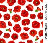 poppy flowers pattern... | Shutterstock .eps vector #1230499537