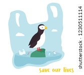 eco poster. cute puffin inside... | Shutterstock .eps vector #1230511114