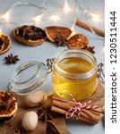 a close up view of honey jar... | Shutterstock . vector #1230511444