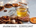 a close up view of honey jar... | Shutterstock . vector #1230511447